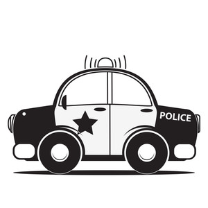 300x300 Police Car Silhouette. Vector Illustration Royalty Free Stock