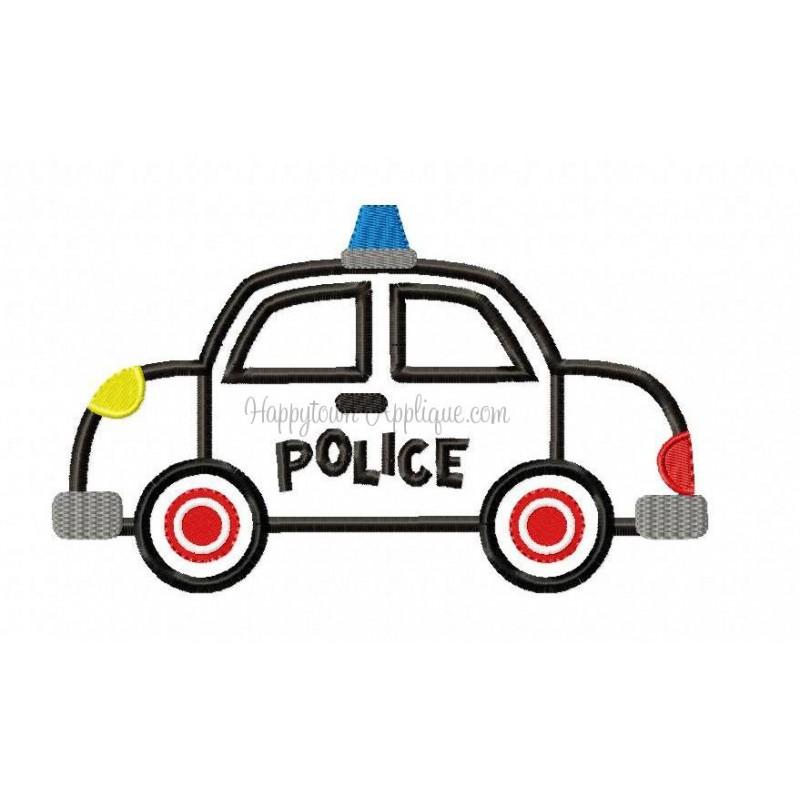 800x800 Police Car Applique Design