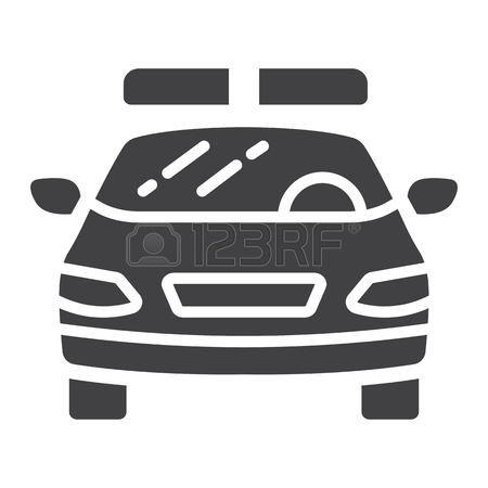 450x450 Police Car Glyph Icon, Transport And Automobile, Cop Sign Vector