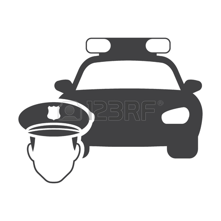 450x450 Police Car Icon In Outline Style Isolated On White Background
