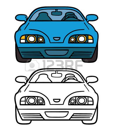 386x450 Police Car. Vector Illustration Coloring Page Of Cartoon Police