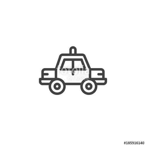 500x500 Police Car Line Icon, Outline Vector Sign, Linear Style Pictogram