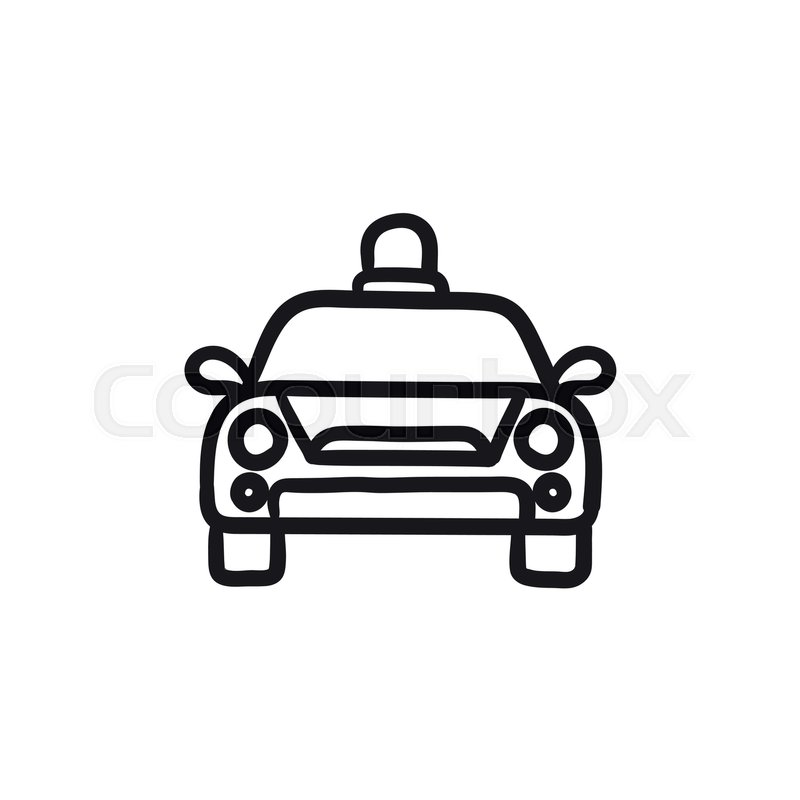 800x800 Police Car Vector Sketch Icon Isolated On Background. Hand Drawn