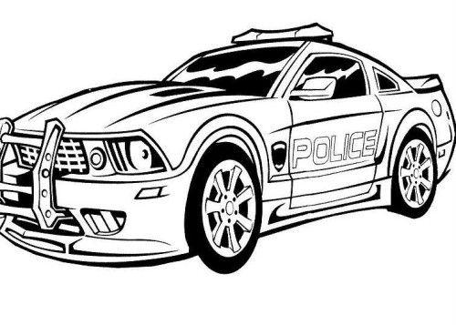 500x357 Police Car Printable Coloring Image
