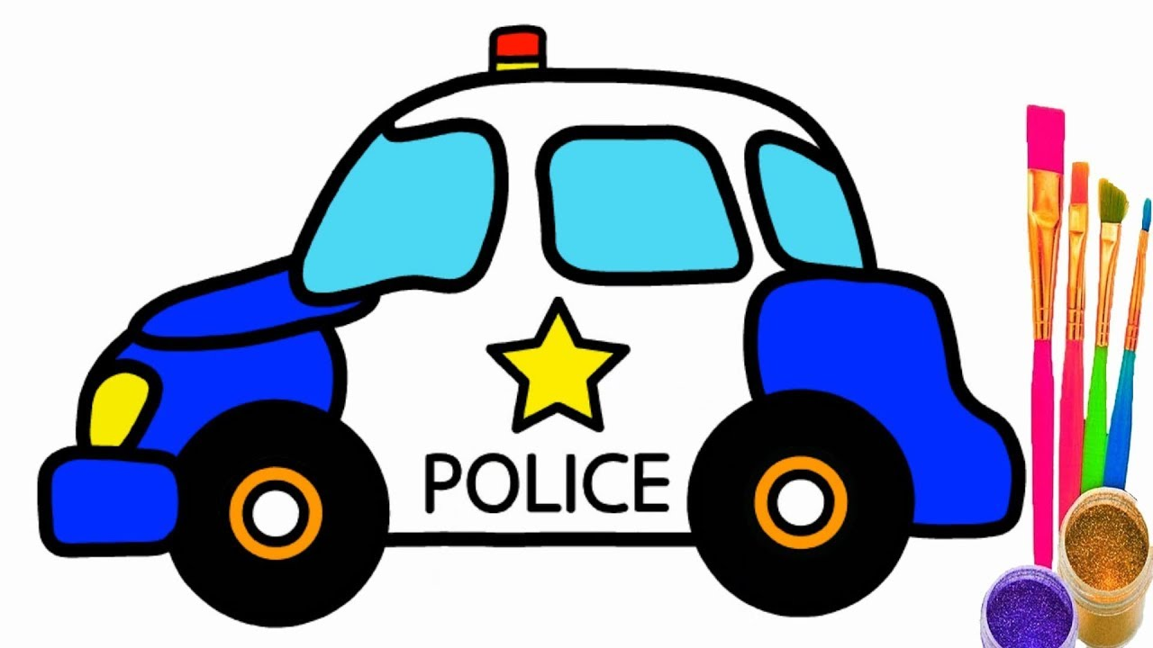 1280x720 How To Draw Police Car Police Car Coloring Pages For Kid