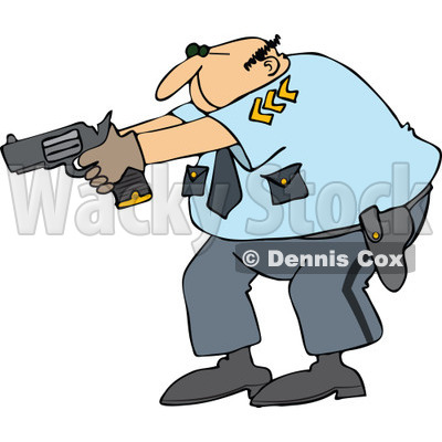 400x400 Cartoon Police Officer Aiming His Gun