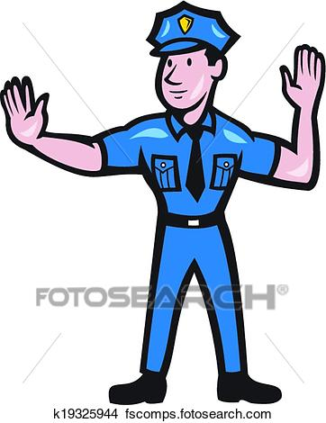 362x470 Clipart Of Traffic Policeman Stop Hand Signal Cartoon K19325944