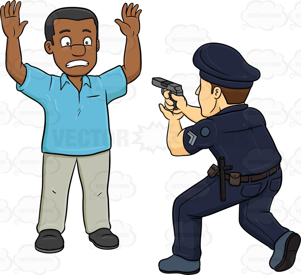 1024x938 A Policeman Telling A Black Man To Freeze Cartoon Clipart