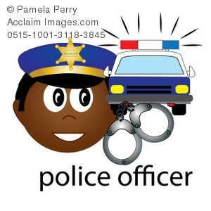 300x300 Art Illustration Of An African American Police Officer Icon