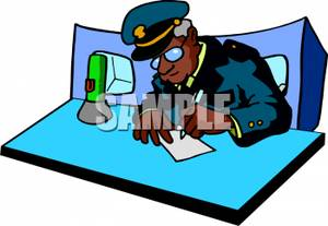 300x207 Art Image A Police Officer Filling Out Paperwork On His Desk
