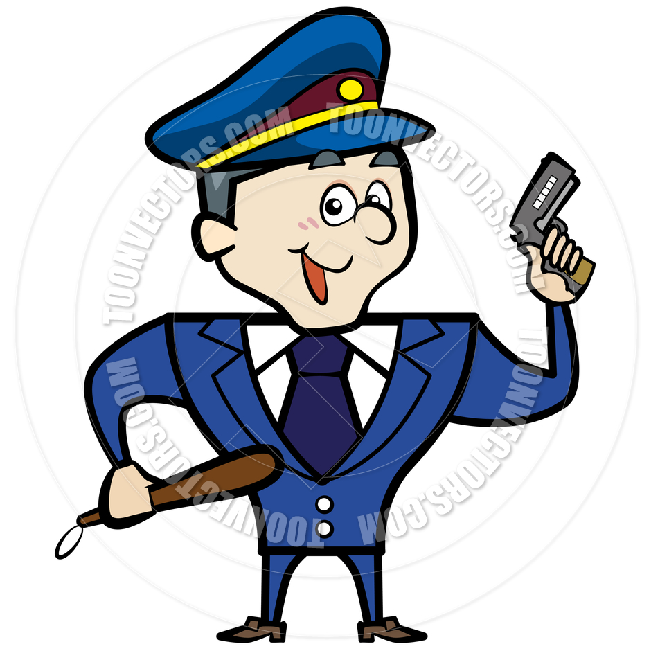 940x940 Cartoon Police Officer Man With Gun By Toon