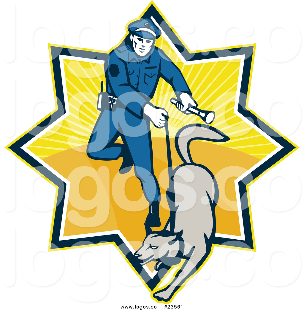 1024x1044 Vector Logo Of A Police Officer With A Dog And Flashlight By