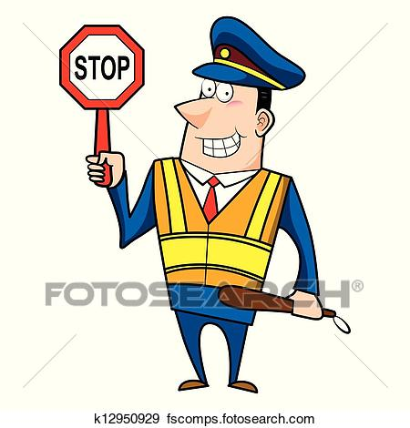 450x470 Clip Art Of Male Cartoon Police Officer K12950929