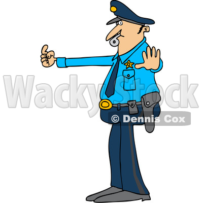400x400 Clipart Of A Cartoon Black And White Lineart Male Police Officer