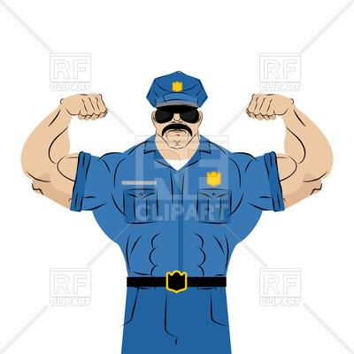 400x400 Strong Police Officer Royalty Free Vector Clip Art Image