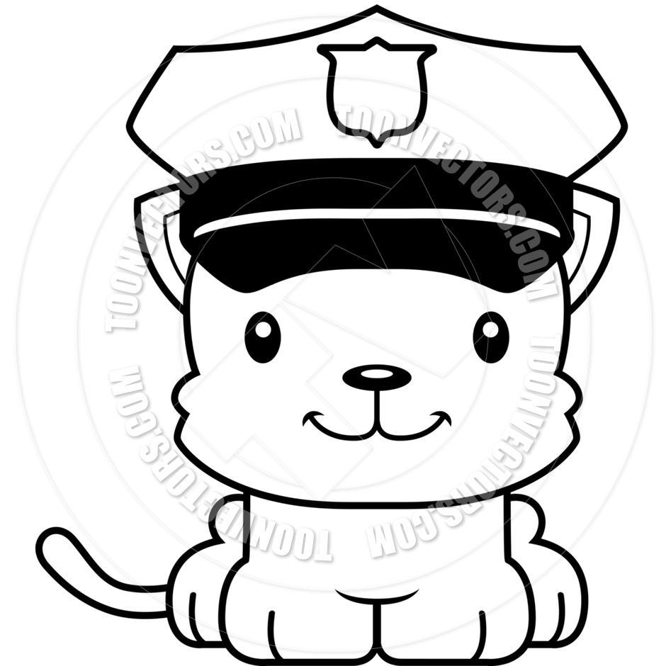 940x940 Cartoon Smiling Police Officer Kitten (Black And White Line Art