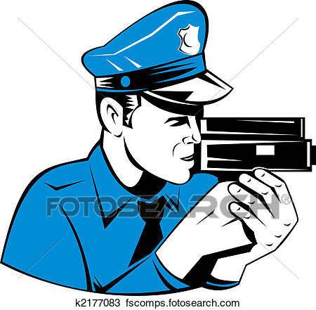 450x441 Drawing Of Police Officer With Speed Camera K2177083