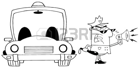 450x221 Angry Police Officer Yelling Through A Megaphone Royalty Free