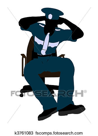 337x470 Drawing Of Male Police Officer Sitting In A Chair Illustration