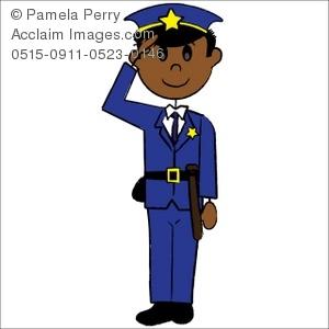 300x300 Clip Art Illustration Of A Stick Figure Ethnic Police Officer