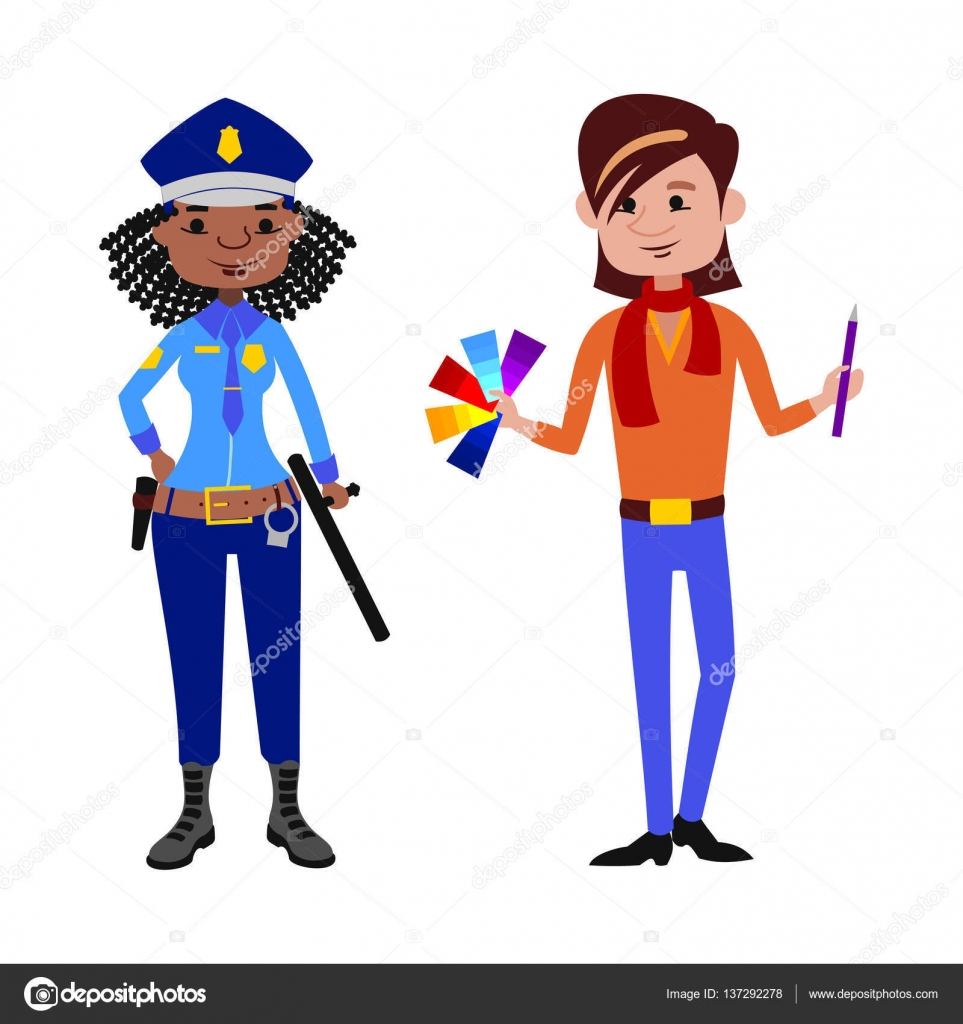 963x1024 People Police Officer And Artist Different Professions Vector