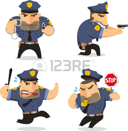 442x450 Police Officer Cop Set Vector Illustration, With Officer In Five