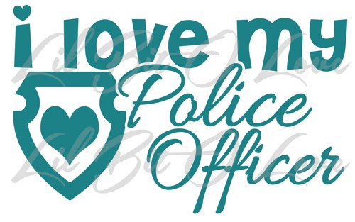 500x313 I Love My Police Officer With Heart Shield Vinyl Decal Sticker