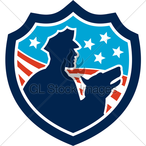 500x500 American Security Guard With Police Dog Shield Gl Stock Images