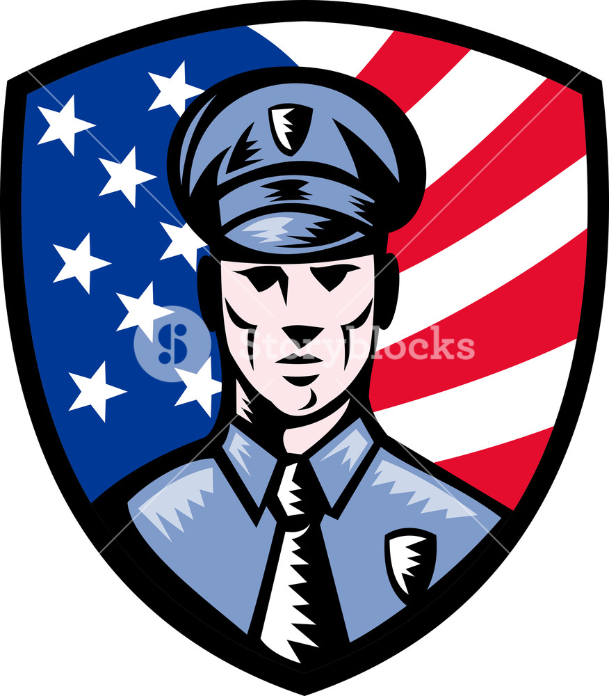 876x1000 Policeman Police Officer American Flag Shield Royalty Free Stock