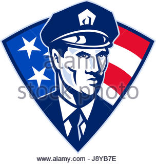 304x320 Policeman Police Officer American Flag Shield Stock Photo, Royalty