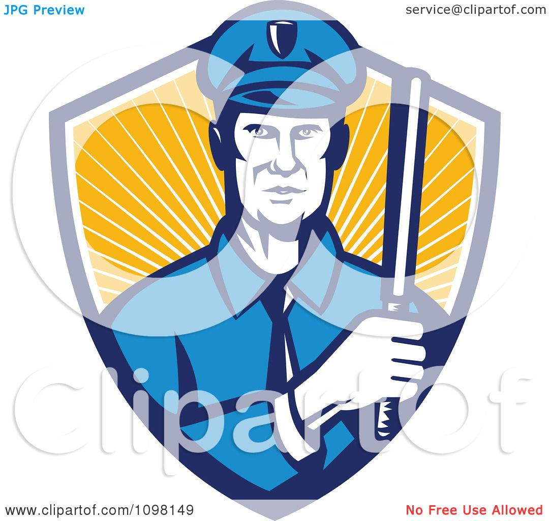 1080x1024 Clipart Retro Police Officer Holding A Baton In A Shield Or Rays