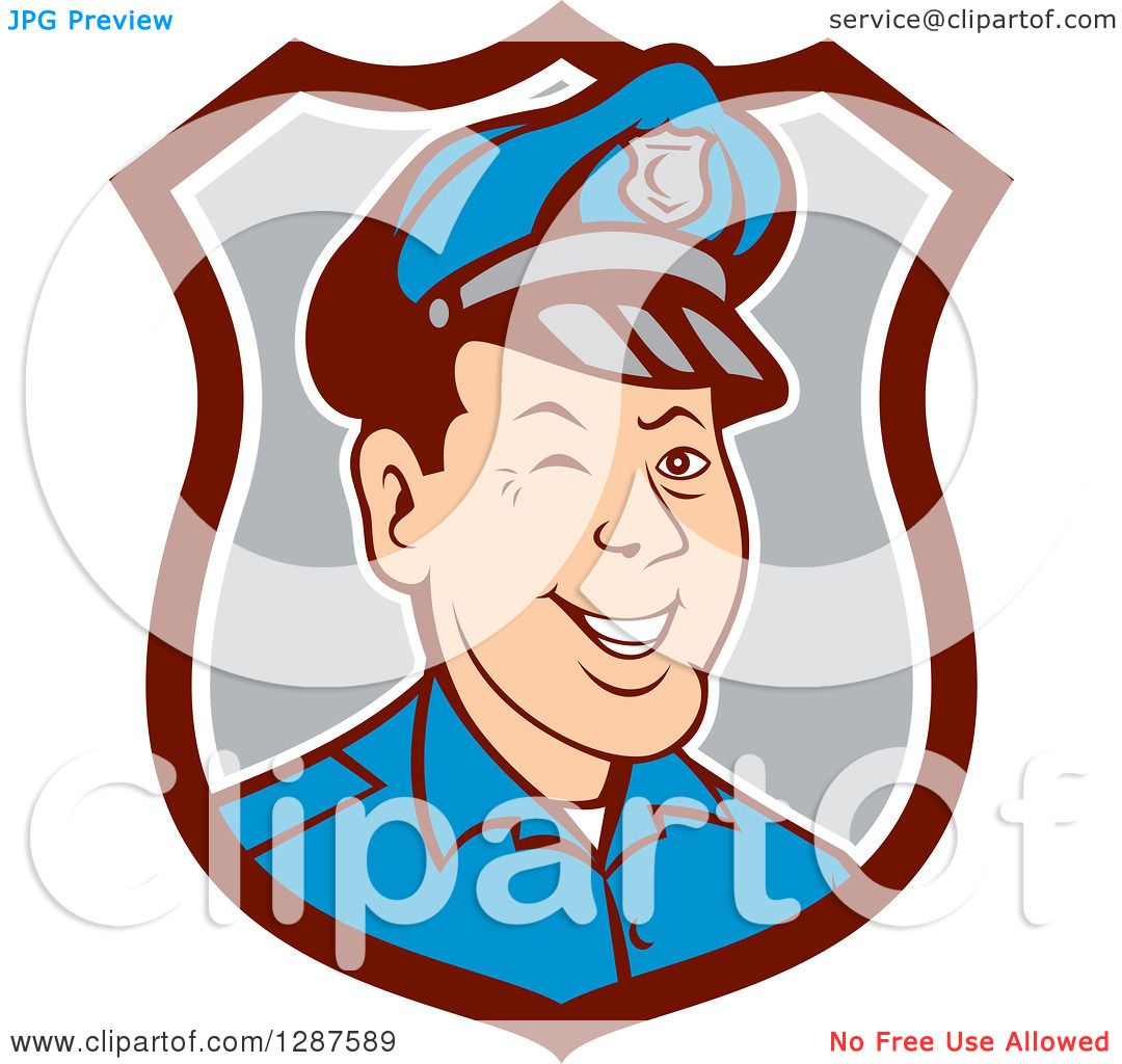 1080x1024 Clipart Of Retro Cartoon Winking White Male Police Officer In