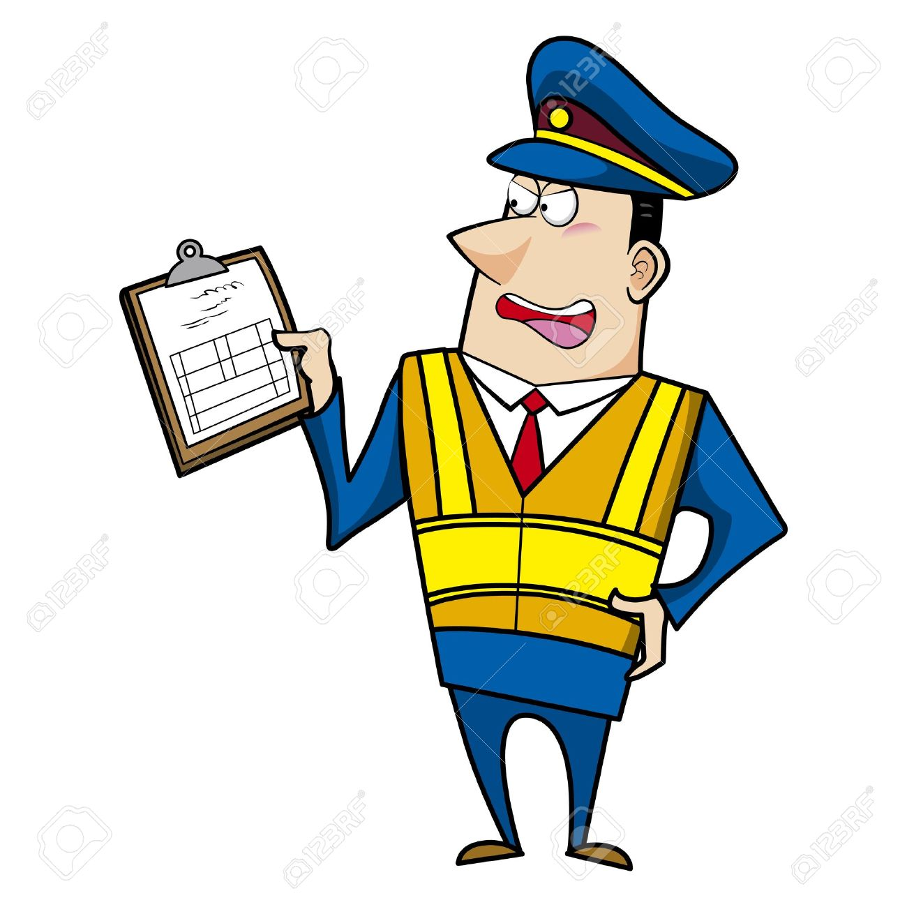 1300x1300 Male Cartoon Police Officer Holding A Ticket Royalty Free Cliparts