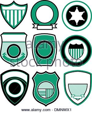 300x366 Police Shield Badge Icon, Outline Style Stock Vector Art