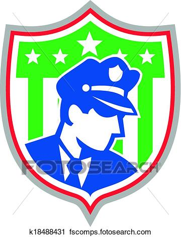360x470 Clipart Of Security Guard Police Officer Shield K18488431