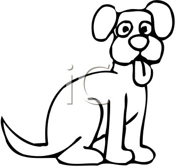 350x332 Picture Ofn Outline Of Cartoon Dog With His Tongue Out In