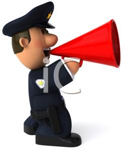 246x300 Police Officer Talking Into A Megaphone Clip Art Image
