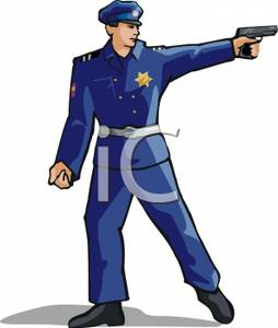 254x300 Free Clipart Image A Policeman Aiming His Pistol