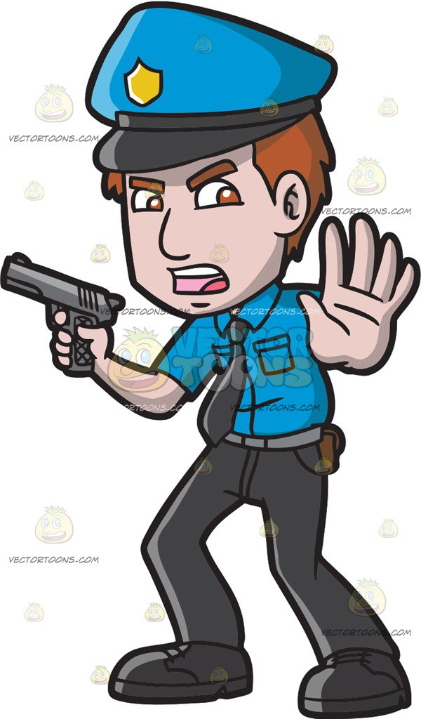 600x1024 A Police Officer Asking People To Back Off Cartoon Clipart