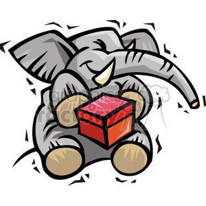300x300 Royalty Free Republican Elephant Cartoon Holding A Ballot Box