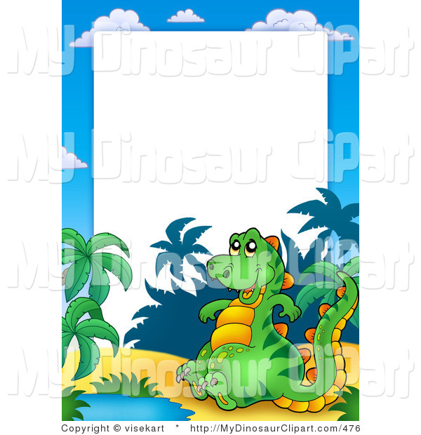 600x620 Clipart Of A Green Dinosaur And Pond Frame By Visekart