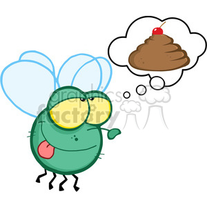 300x300 Royalty Free Cartoon Fly Dreaming Of Poo 384346 Vector Clip Art