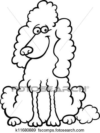 352x470 Clip Art of poodle dog cartoon for coloring book k11680889