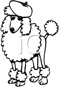 205x300 Page of a Poodle Wearing a Beret Clip Art Image