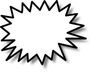 299x234 Clipart Of A Black And White Comic Burst Explosion Or Poof 4