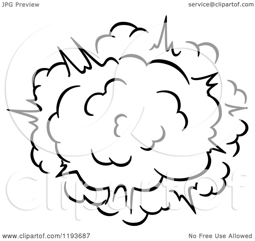 1080x1024 Clipart Of A Black And White Comic Burst Explosion Or Poof 8