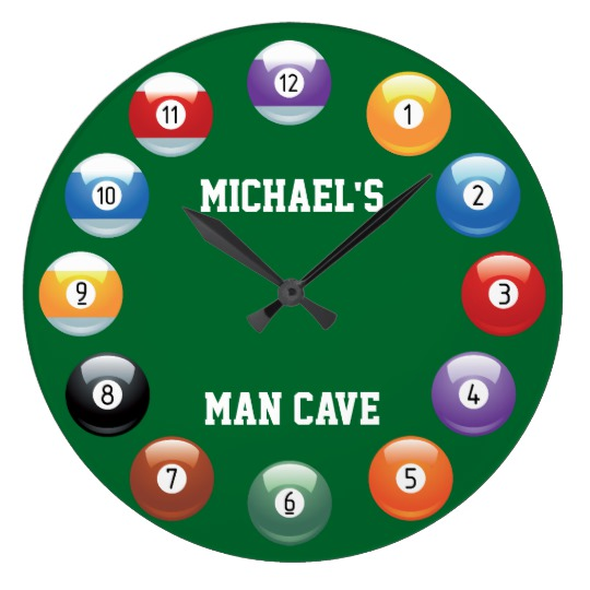540x540 Billiard Balls Personalized Wall Clock