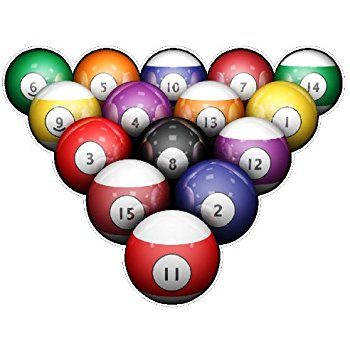 350x350 Billiard Balls Wall Decal Stickers, Pool Room, Game