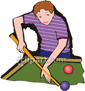 279x300 Boy Playing Pool Royalty Free Clipart Picture