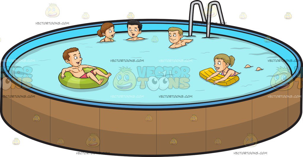 1024x532 Five People Swimming In An Outdoor Pool Cartoon Clipart